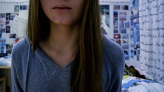 Bruises (zvezdin) Tags: pink blue winter brown canada face wall hair hoodie spring hurt nikon long purple montreal room lips photographs pullover bruises clavicles d5100
