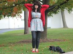 The Clock Ticks On (Katie Burry) Tags: girl belt outfit dress jeans cardigan balletflats modcloth