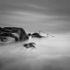 Forty Foot Ladder (annemcgr) Tags: longexposure sea dublin monochrome clouds blackwhite rocks le ladder fineartphotography fortyfoot bestevercompetitiongroup