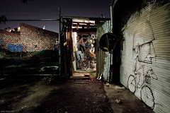 Bike Repairs Shop (Ranga 1) Tags: longexposure nightphotography urban night canon graffiti lowlight nocturnal fitzroy australian bikes australia melbourne victoria explore suburbs urbanlandscape davidyoung lowlightphotography ef1740mmf4lusm bikerepairs canoneos5dmarkii
