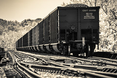 Tangled Tracks (Sky Noir) Tags: railroad blackandwhite monochrome car train virginia tracks rail railway richmond va transportation coal hopper rva