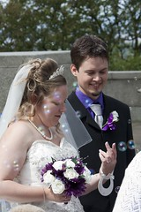 Newlyweds (bryanpage) Tags: flowers wedding tiara groom bride veil dress bubbles lancaster bouquet weddingdress bridegroom bryanpage williamsonpark ashtonmemorial michellepage