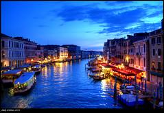 from the Rialto bridge (jammybunn) Tags: venice italy reflection skyline night river boats lights evening canal nikon restaurants hdr blurs rialto d5100