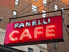 Fanelli Cafe, New York, NY (Robby Virus) Tags: city nyc food newyork apple beer sign bar restaurant big cafe pub neon village manhattan soho greenwich alcohol tavern booze fanelli