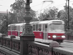 Rush (m_artijn) Tags: tram prague cz most legii selective colour red bridge movement