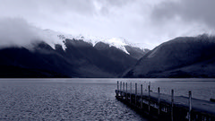 Winter blue (duncanmc42) Tags: winter snow mountains lake jetty blue cold water bleak picturesque nelsonlakes nationalpark southisland newzealand duncancunningham duncanmc42 olympus em5 microfourthirds outdoor