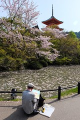 Kiyomizu-dera XIV (Douguerreotype) Tags: shrine temple buddhist kyoto japan pagoda pond art painting painter artist cherry blossom cherryblossom sakura petals water