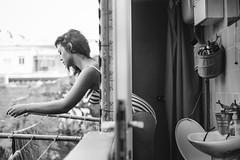 Good morning Katarina (laurapeagorostegui) Tags: blackandwhite blancoynegro valencia 2016 spain laurapeagorostegui katarina cabanyal cabaal home house day naturallight shadows lights icollectlight sweet girl woman lady sexy summer hot heat city apartment laundry stripes pretty beauty fashion bathroom canon60d canon 50mm14 canon50mm14