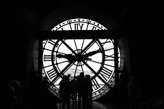 the clockwatchers, at the great clock window, Musee D'Orsay, Paris, France (grumpybaldprof) Tags: tamron 16300 16300mm tamron16300mmf3563diiivcpzdb016 musedorsay paris france leftbank seine rivegauche garedorsay orsayrailwaystation museum beauxarts frenchart station railway fineart art sculptures furniture garedorsay blackandwhite bw hdr blackwhite monochrome silhouette silhouettes clock window clockwatcher clockwatchers horloge horloges light shadow contrast blackandwhite glass hands montre