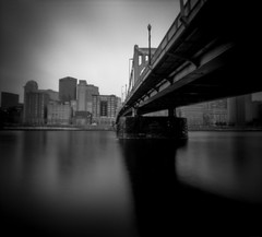 Pinhole Pittsburgh 1 (The Stugots) Tags: zero image zeroimage pinhole camera fuji film fujifilm neopan acros hc110 1to63 1 63 dilution h for 11 minutes ilford stop fixer city river pittsburgh steele bridge dock wooden no lens 120 medium format 6x7 6x9