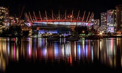BC Place Stadium lit in red & white (Images by Christie  Happy Clicks for) Tags: falsecreek bcplace vancouver bc canada canadaplace