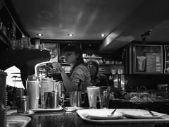 Barista (LegoLee) Tags: bradbury x30 fuji fujifilm candid blackandwhite bw coffee shop girl prepare barista latte inside