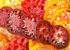 Tomatoes (Grazerin/Dorli B.) Tags: tomatoes heirloomtomato slice red orange yellow edibleabstract food elements salt pepper
