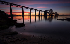Burning Bridges (Kyoshi Masamune) Tags: edinburgh southqueensferry northqueensferry northsea uk scotland kyoshimasamune sea seascape sunset panorama clouds cloudscape ultrawideangle wideangle zomei zomeind1000 longexposure hightide nd1000 nd8 cokinfilters cokinnd8 firthofforth kingdomoffife fife fifecoast forthbridge forthroadbridge forthrailwaybridge queensferrycrossing waterreflection