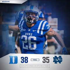 A huge win over Notre Dame for Duke Football! Congratulations to Coach Cutcliffe on his 50th win as Duke Head coach! #GoDuke #OurProgram [: @duke_fb] (Duke University) Tags: ifttt instagram duke university