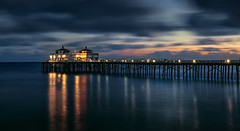Maliblue Pier [EXPLORE #2: 9/2/16] (Wilkof Photography) Tags: malibupier losangeles pier malibu californiacoast southerncalifornia california ca pacificocean architecture beach beachfront cloudy canont4i canon cloudcover scenic coast dark dusk darkness evening landscape light 18135mm 29mm lens longexposure neutraldensity le nd8 land lights lowtide moody nature natural night overcast outside ocean oceanfront perspective panoramic reflection reflections shadow skyline sky sunset serene sand sea seaside sundown symmetry silhouette water winter wet waterfront windy wilkofphotography