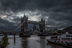 The build-up (Howard Ferrier) Tags: thames england bridge waterway towerbridge dusk commercialbuildings skyscraper london river southwark clouds unitedkingdom architecture tourboat officebuilding europe marinevessel transport charterboat