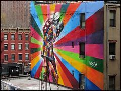 """The Kiss Seen Around the World"" Street Art viewed from the High Line, Chelsea, NYC (TravelsWithDan) Tags: nyc streetart newyork chelsea ngc highline alfredeisenstaedt unconditionalsurrender sewardjohnson victorjorgensen vjdayintimessquare eduardokobra worldtrekker"