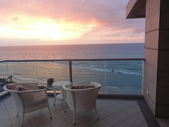 View from balcony, Maison Lisbona, Bat Yam (8) (dlisbona) Tags: sunset sea vacation holiday vacances soleil israel telaviv sonnenuntergang view apartment flat rental location appartement luxury seaview  coucherdusoleil batyam louer apartement sejour