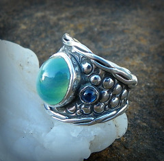 Dobrynya Nikitich Green Dragon hand forged sterling silver sapphire Ring (leespicedragon) Tags: green silver dragon god jewelry ring sterling myth sapphire handforged slavic dobrynyanikitich zmeygorynych