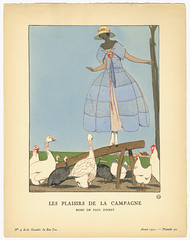 Les Plaisirs de la Campagne - Robe de Paul Poiret [The Pleasures of the Countryside - Dress by Paul Poiret] (MCAD Library) Tags: hats dresses mcad fashiondesign pochoir womensclothing costumedesign colorlithographs fashionplates fashionillustration paulpoiret stencilwork fashiondrawing gazettedubonton birdsinart mcadlibrary chickensinart andredouardmarty mcadspecialcollection geeseinart gazettedubongenre
