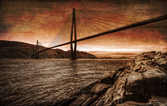 The bridge (jimhelge) Tags: ocean bridge sea mountain snow cold norway photoshop canon 1020mm sandnessjen tectures eos550