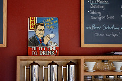 """Coffee keeps me busy..."" (Clever Poet) Tags: mountain me coffee sign metal shop chalk colorado board nederland busy pitchers stainless keeps"