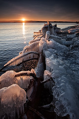And more Ice (timcorbin) Tags: winter sunset ontario canada tree ice canon whitby lakeontario leefilters