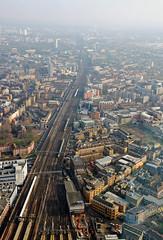 Miniature Railway (DncnH) Tags: city london glass train londonbridge vanishingpoint view aerialview railway railwaystation shard theview se1 londonbridgestation theshard