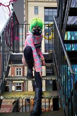 IMG_1832 (Neil Keogh Photography) Tags: pink people green girl yellow photoshoot tattoos gasmask gothgirl cyberdog newrockboots portraitphoto cybermask manchestercitycenter cybergothmask modelkirstie