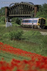 M002-00318 (railphotolibrary.com) Tags: bridge flowers england train countryside europe diesel railway hampshire junction signals poppies flyover 159 dmu hants uk1 worting battledown