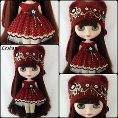 "For ""Blythe Alive"" (Leshan1) Tags: hat doll dress crochet helmet blythe leshan reddelicious rbl feltedhat dolldress blythedress dollcrochet blythecrochet leshancrochet"