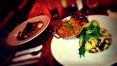 Another delicious food night at The Bohemia (Gab & Liz) Tags: sausage curry squash couscous butternut mash lentil