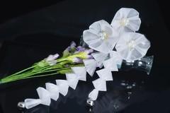 sparkle white ume (Bright Wish Kanzashi) Tags: hair pin hand handmade gradation ornate dyed tsumami kanzashi