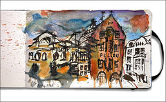 Davidwache (rafaelmucha) Tags: david moleskine pen ink notebook sketch hamburg sketchbook draw parallel stpauli polizei pilot aquarell davidwache