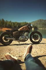 my XV bobber (Garrett Meyers) Tags: california lake water photo cafe view shot great motorbike motorcycle yamaha shasta virago racer bobber xv750 garrettmeyers
