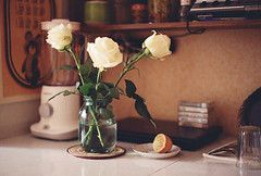 Roses (Andrey Timofeev) Tags: flowers light roses film home kitchen glass leaves 35mm reflections notebook table lemon shadows plate shades jar blender bouquet dishes tones canonae1program cassettes spoons             35 kodakcolorplus200    facetedglass      march2013   canonlensfd50mm14