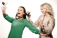 12/52/2013 - C vs. J (blindfire.org) Tags: girls green studio grid fight nikon women flash models blonde brunette catfight softbox strobe flashes elinchrom beautydish strobism