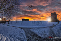 Gediminas Sunset II (Alexis Methenitis) Tags: blue winter sky people snow canon reflections day fisheye lithuania vilnius lt canoneos5dmkii eosdeurope canonef815mmf4lfisheyeusm