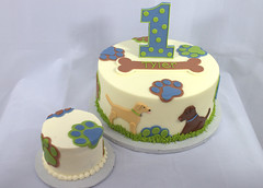Puppy Dog Birthday Cake and Smash Cake (My Sweet Austin) Tags: blue dog green grass cake puppy birthdaycake bone pawprint 1stbirthday fondant greenandblue partycake mysweetaustin
