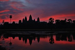 Angkor Wat, the mandatory shot (Pat de T.) Tags: travel pink red reflection water sunrise landscape temple cambodia view jungle angkor wat mandatory distagont235