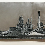 "<b>Stelco, Hamilton Ontario, 2011</b><br/> (Benincasa, Encaustic, oil paint, cement, wood, z-scale track on sheet metal)<a href=""//farm9.static.flickr.com/8387/8622627222_cf672bedc2_o.jpg"" title=""High res"">∝</a>"