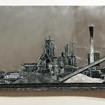 "<b>Stelco, Hamilton Ontario, 2011</b><br/> (Benincasa, Encaustic, oil paint, cement, wood, z-scale track on sheet metal)<a href=""http://farm9.static.flickr.com/8387/8622627222_cf672bedc2_o.jpg"" title=""High res"">∝</a>"