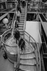 Staircase Rush (Architectural & Street Photographer) Tags: sanfrancisco people blackandwhite blur monochrome architecture stairs mall blackwhite staircase bayarea japantown walkingdown