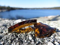 Broken Glass on Rock (nikagnew) Tags: blue sky reflection texture broken water glass rock amber brokenglass rocky bluesky sharp shards beerbottle