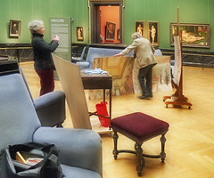 With Odile at Kunsthistorisches Museum: meeting the Painter Gnter Fritsch at the Albrecht Drer Room - 2.4.2013 (hedbavny) Tags: vienna wien art museum painting bag buch austria book sterreich artist fotografieren open kunst painter khm photographing fritsch odile drer kunsthistorischesmuseum knstler tasche maler albrechtdrer gemlde handtasche offen lgemlde wienbesuch umhngetasche gnterfritsch hedbavny danube1 ingridhedbavny