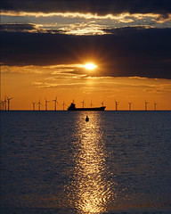 Another place (Explored) (hehaden) Tags: sunset sea sky clouds horizon ironman windfarm antonygormley anotherplace ironmen crosbybeach