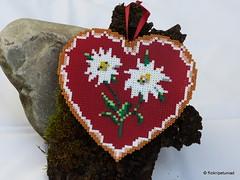 Edelweiss Herzerl aus Bgelperlen (petuniad) Tags: beads alpine chic hama perler prlplattor hamabeads strijkkralen alpinechic huettenzauber buegelperlen