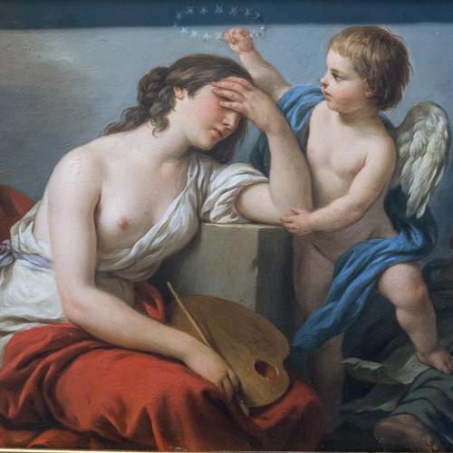 """Louis Lagrenée (1724-1805) """"L'Amour des arts console la Peinture des écrits ridicules et envenimés de ses ennemis""""  dét. (salon de 1781) musée du Louvre (Paris, France)"""