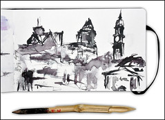 Hamburg - Michel (rafaelmucha) Tags: city moleskine ink notebook sketch hamburg sketchbook bamboo stadt draw michel inking bambusfeder